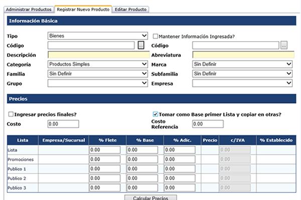 Datos detallados de Productos