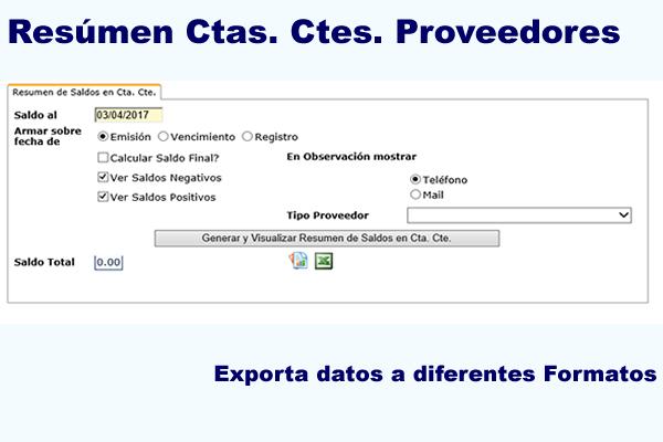 Resúmen de Cuentas Corrientes Proveedores